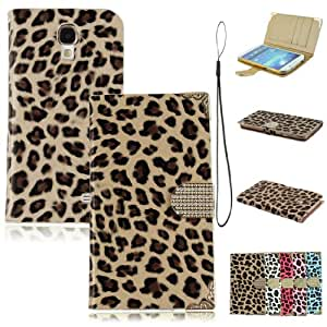 Voberry Brand New Full-body Wallet Stype Magnetic Leopard PU Leather Folio Holder Case Cover For Samsung Galaxy S4 i9500 (Coffee)