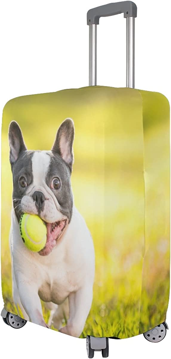 French Bulldog Travel Luggage Cover Stretchable Pulling Cloth Suitcase Protector Fits 18-20 Inches Luggage
