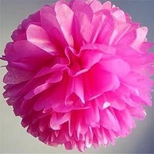 Elaco 20pcs Tissue Paper Pom-poms Flower Ball Wedding Party Outdoor Garland Decoration Hot Pink