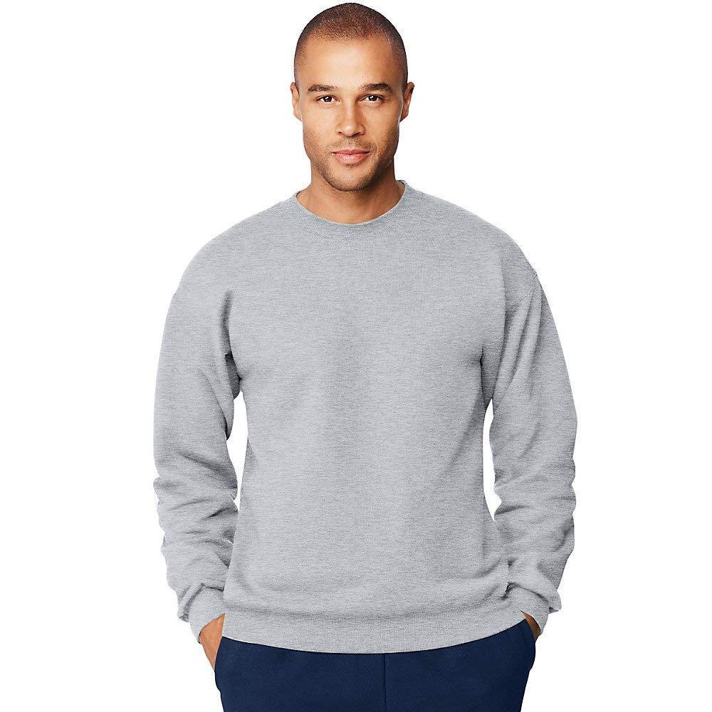 Hanes Mens Ultimate Cotton Crewneck Sweatshirt, Large, Ash F260