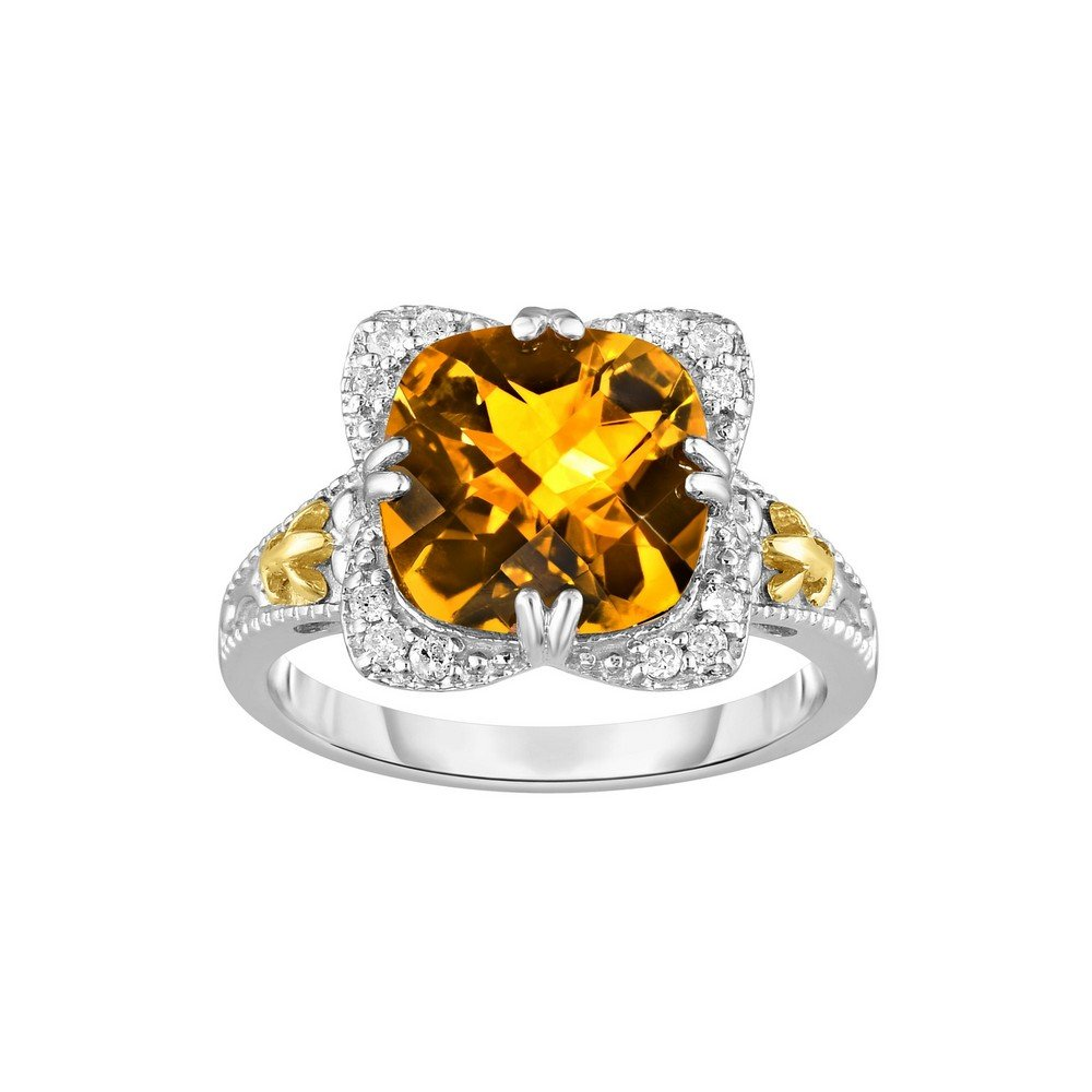Sterling Silver Rhodium With 18k Yellow Gold - Size 7 Ring 0.12ct Diamond 10mm Cushion Citrine by JewelryWeb (Image #1)