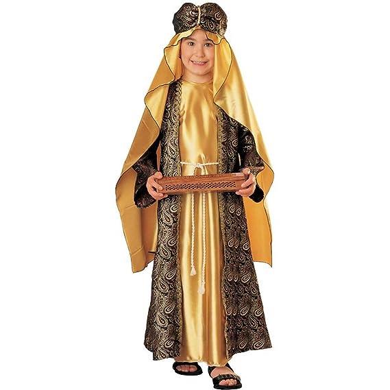 Amazon.com: Tres Reyes Magos Niño Disfraz Melchior (Oro con ...