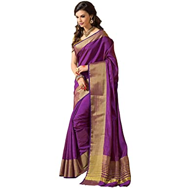 2ef4afeb4dfa25 Amazon.com: Shree Designer Sarees Women's Purple Kanchipuram Saree with  Double Unstitched Blouse: Clothing