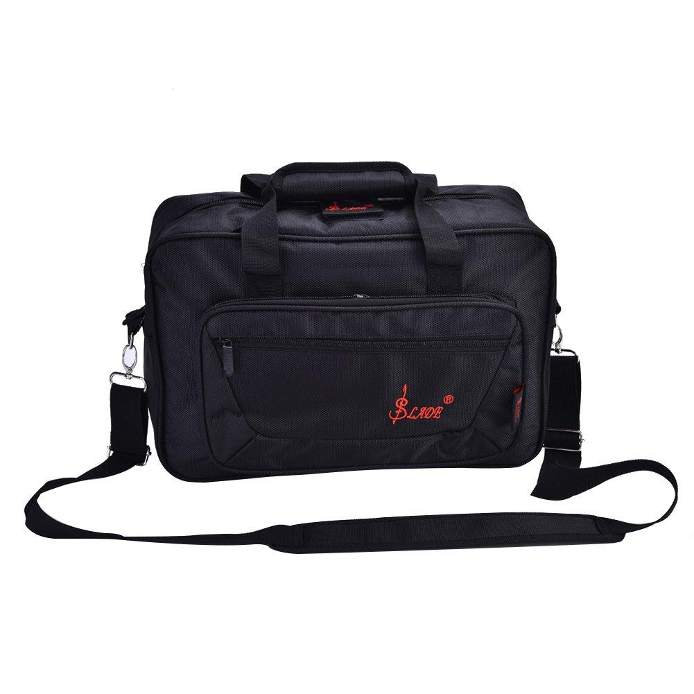 Dilwe Portable Clarinet Bag, Oboe Shoulder Bag Carry Case Musical Instrument Handbag(Black)