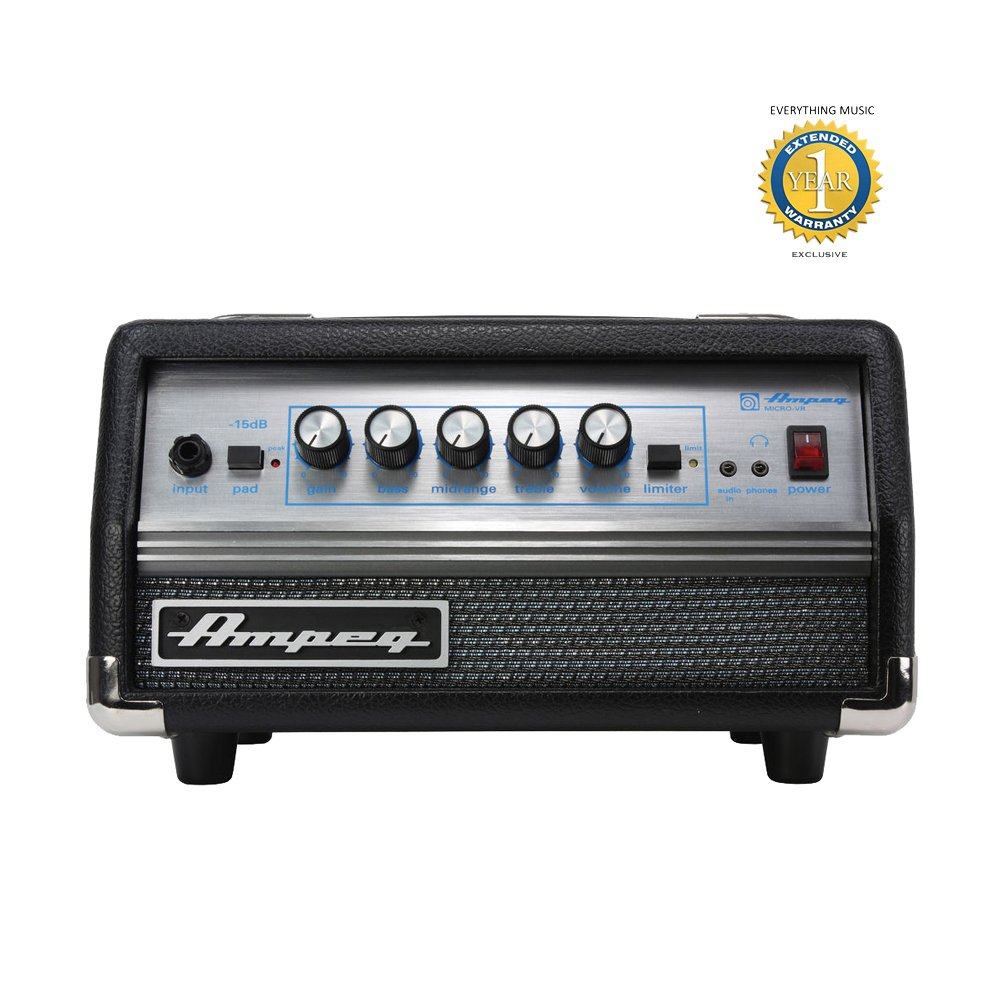 Ampeg SVT Micro-VR Solid-State 200-Watt Bass Amp Head with 1 Year EverythingMusic Extended Warranty Free
