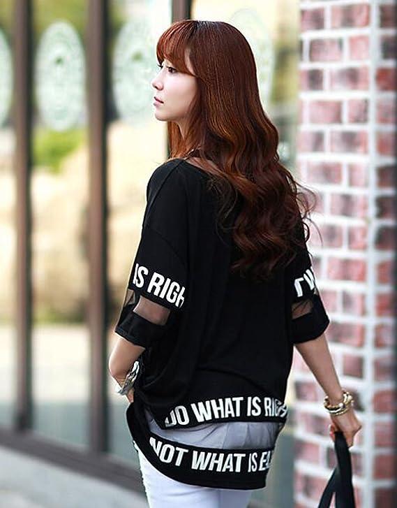 Hqclothingbox Women's Lady Summer Korean Short Sleeve Lace Loose Splice  Thin T-Shirt: Amazon.co.uk: Clothing