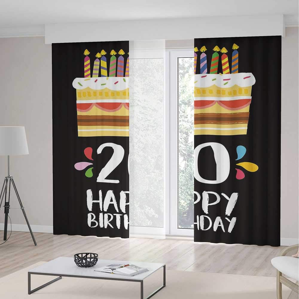 TecBillion Blackout Curtains,20th Birthday Decorations,Living Room Bedroom Décor,Vintage Cartoon Style Party Cake with Candles on Black Backdrop,236Wx106L Inches