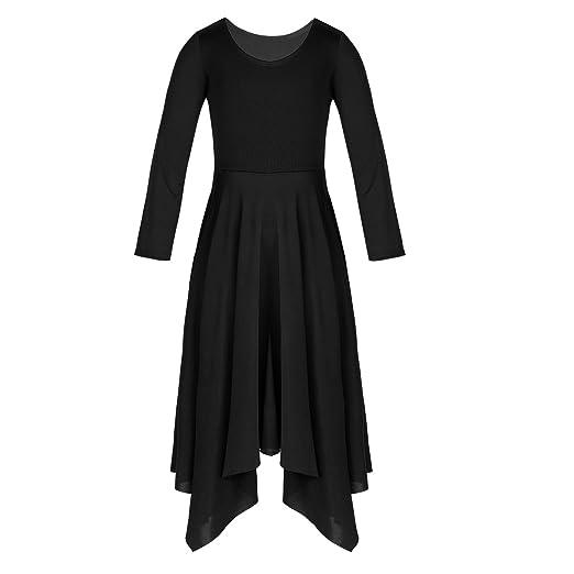 bd2c7a5abb2a ACSUSS Kids Girls Long Sleeves Lyrical Spiritual Dance Wear Irregular  Pleated Hem Dress Black 3-