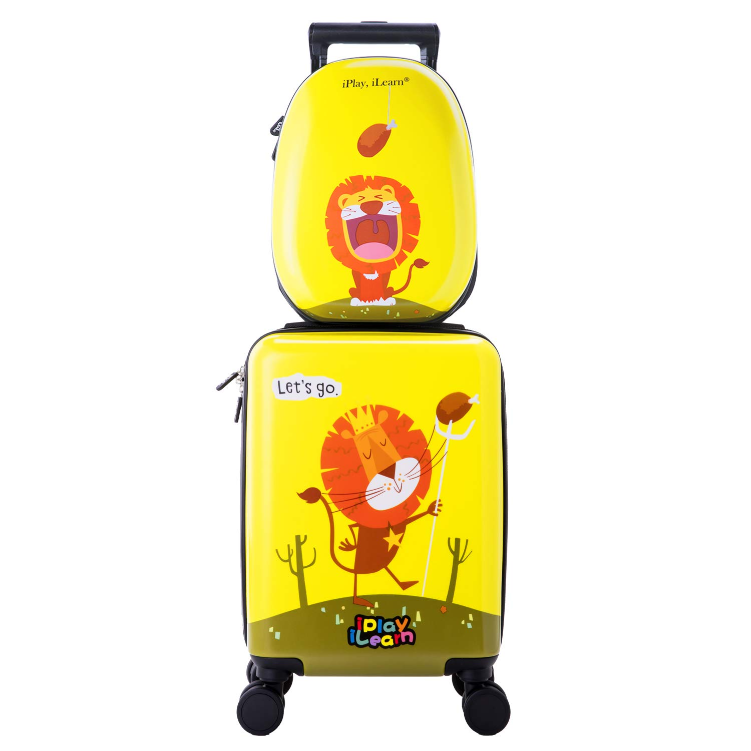 Kids Carry On Spinner Luggage, Hard Shell Travel Upright Rolling Suitcase Boys
