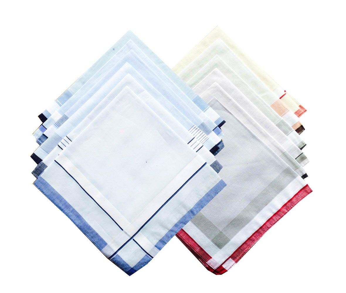Assorted Pack of Mens Classic Cotton Handkerchiefs
