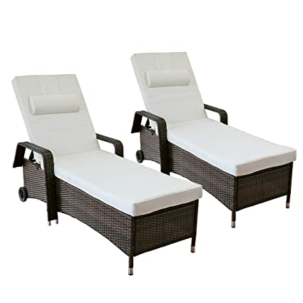 Yardeen 2 Pack Patio Chaises Lounge Chair Outdoor Poolside Rolling Armchair  Reclining Adjustable Wicker Sunbed