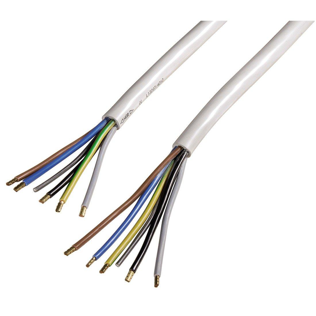 Xavax Solides Anschlusskabel für Elektroherd, Elektroherd-Zuleitung, H05VV-F, 2,5 m, Weiß Weiß Hama 00110971