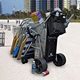 BeachMall Wonder Wheeler Beach Cart Wide Rear Wheels with Silver Mist Frame