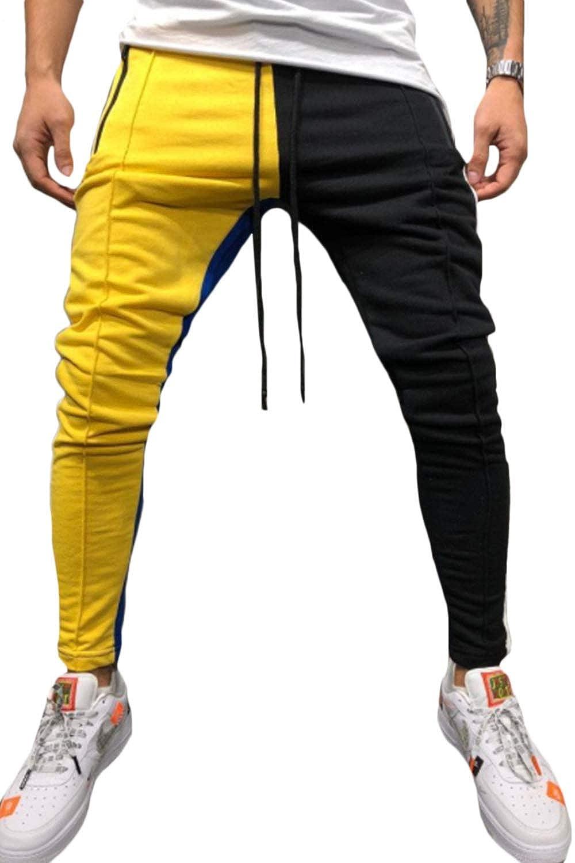 Men Drawstring Striped Track Pants Patchwork Jogging Hip Hop Trousers