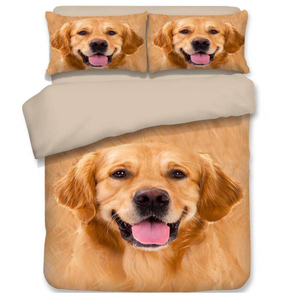 RuiHome 4pcs Duvet Cover Sets 205 Thread Count Soft Polyester Home Bedding Collection for Adults Kids - Queen Size, Golden Retriever Pattern Design