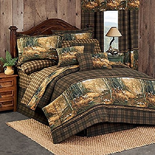 (Whitetail Birch 8 Piece Full Comforter Set (1 Comforter, 1 Flat Sheet, 1 Fitted Sheet, 2 Pillow Cases, 2 Shams, 1 Bedskirt) - Deer Woods Birch Tree Bedding Bedroom Cabin Lodge Decor)