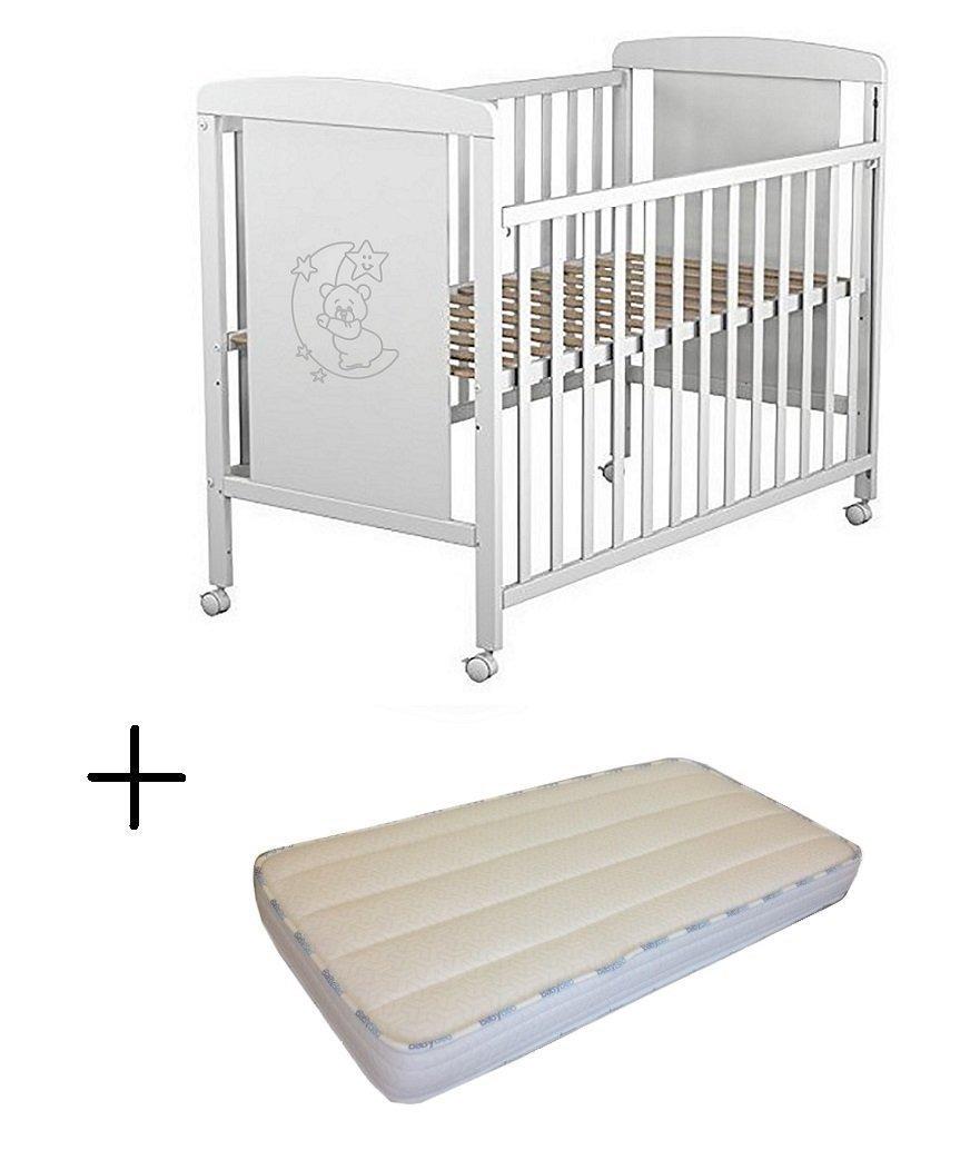 Cuna para bebé, modelo Oso Dormilón Mundi Bebé + Colchón Viscoelástica + Protector de colchón impermeable TORAL BEBE SL