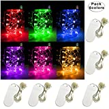 Yitee 6 PCS 6-Colors LED String Light, Battery Operated 20 Micro Starry LED Silver Copper Wire Lights, 6.5 Feet/2M,Best for Mason Jar Lights,Moon Lights,Party,Wedding and Home Decoration (6 Colors)