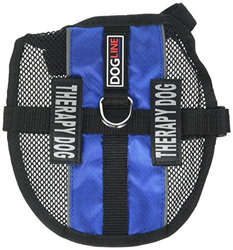 Dogline MaxAire Multi-Purpose Mesh Vest for Dogs and 2 Removable Therapy Dog Patches, Small, Blue (Therapy Mesh)