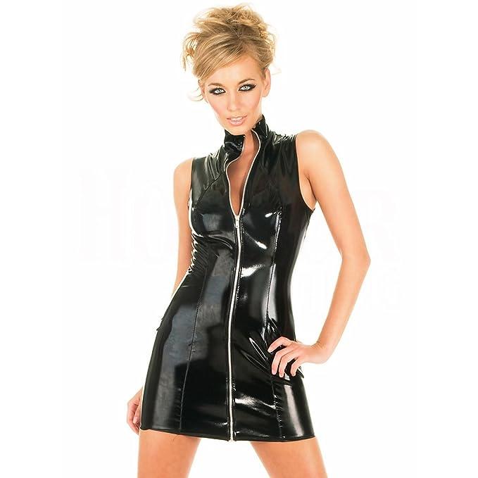 46f734eaba4e9a FASHION QUEEN Women s Sexy PVC Dress Sleeveless Bodycon Dress PU Leather  Clubwear  Amazon.ca  Clothing   Accessories