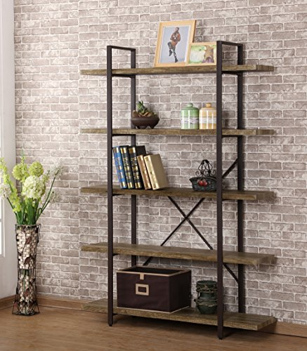 O&K Furniture 5-Shelf Industrial Style Bookcase and Book Shelves, Vintage Wood and Metal Etagere Bookshelf, 47.20''W X 12.60''D X 70''H by O&K Furniture