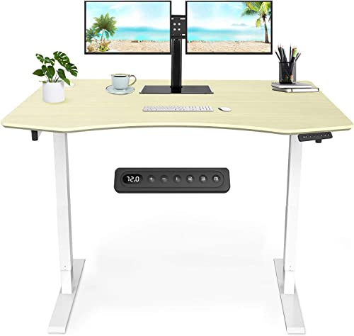 MAIDeSITe Electric Standing Desk Height Adjustable Desk Electric Stand Up Desk Workstation Dual Motor 55 x 28 Inches