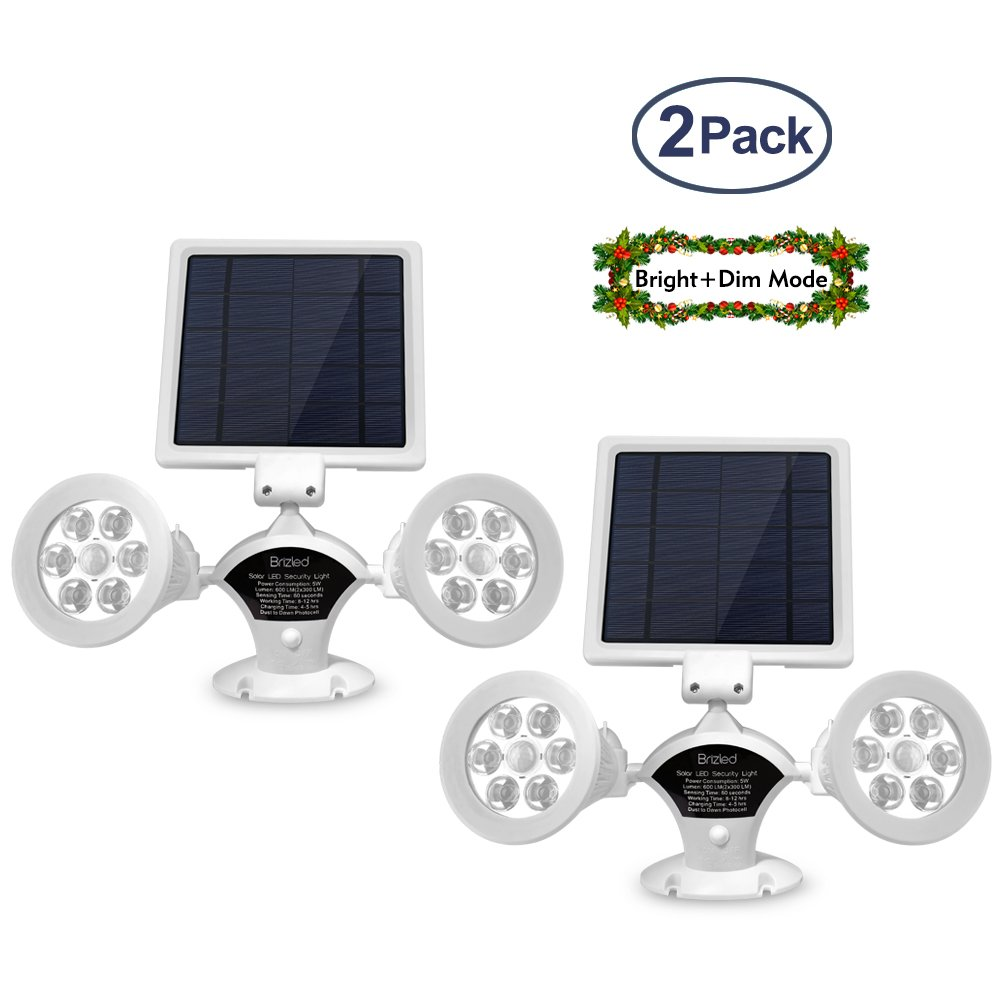 Brizled Upgraded Dual Head Solar Lights Motion Sensor Outdoor, White Solar Spotlights 12 LED Security Light 360 Degree Rotatable Flood Lights for Garage, Driveway and Wall, Warm White, 2 Pack