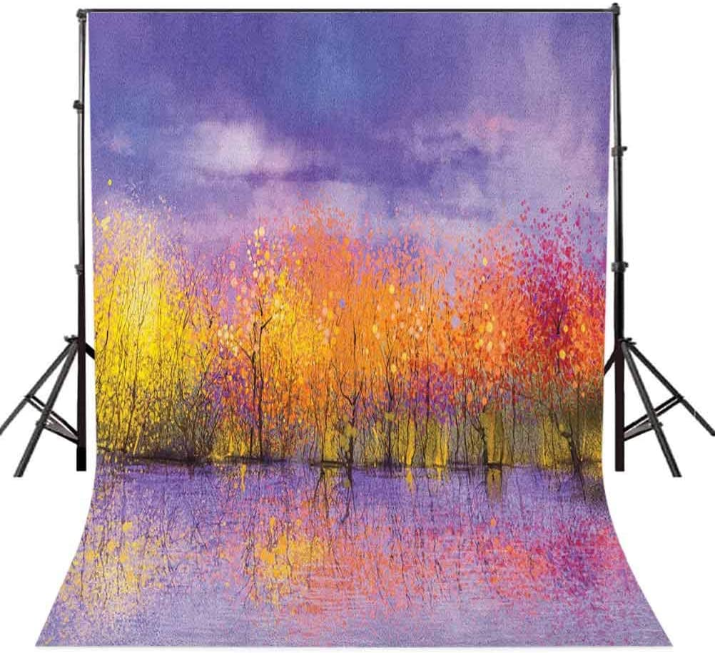 7x10 FT Vinyl Photography Background Backdrops,Seasonal Landscape Paint with Shady Fall Trees by River Pastel Artwork Print Background for Child Baby Shower Photo Studio Prop Photobooth Photoshoot
