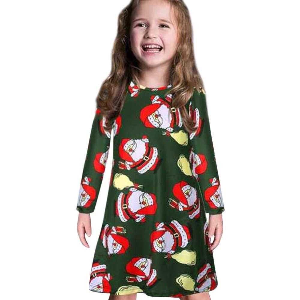 GoodLock Clearance!! Baby Boys Girls Christmas Dress Toddler Kids Long Sleeve Cartoon Print Dress Clothes (Green, 18 Months)