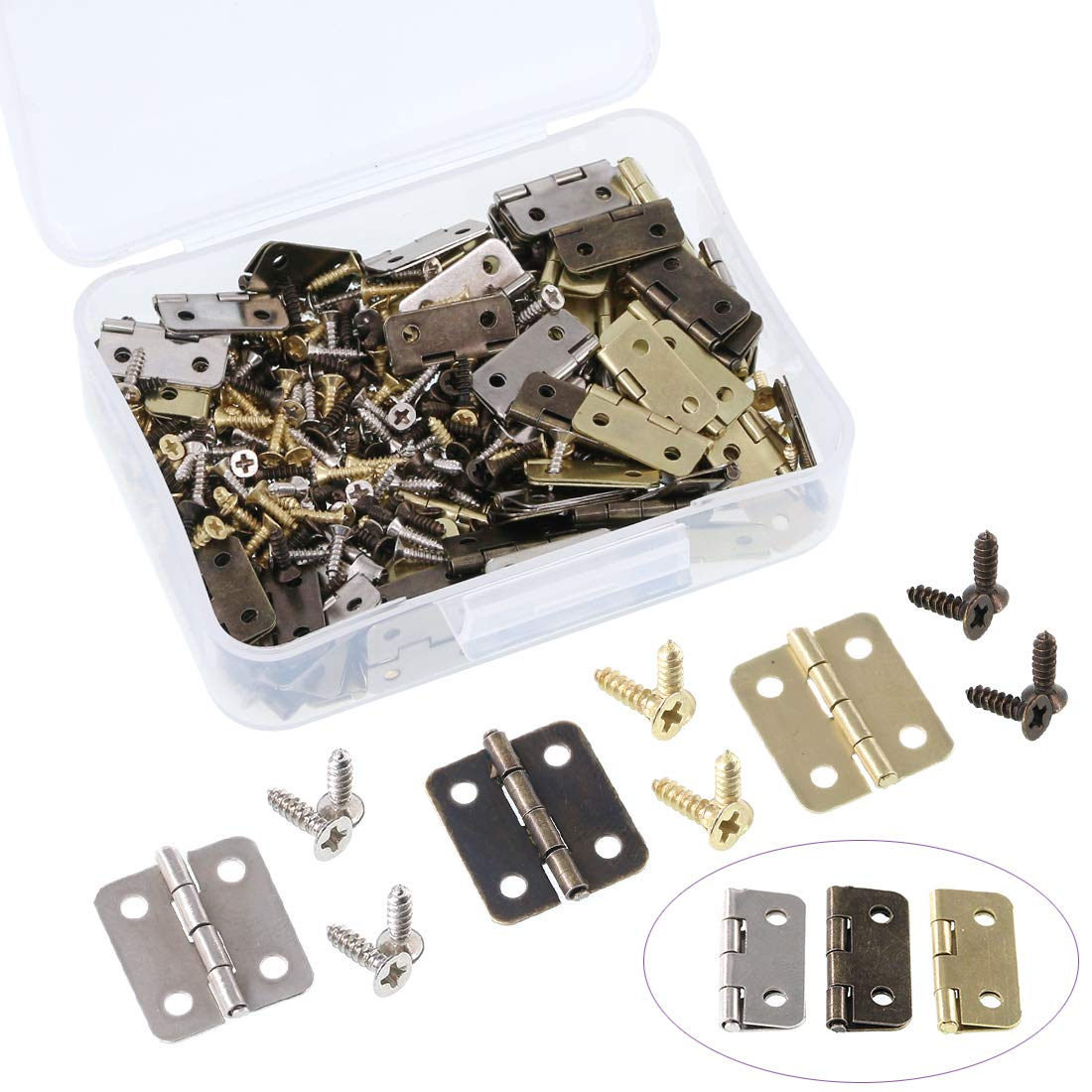 Swpeet 90Pcs 3 Colors Antique Mini Hinges with 360Pcs Replacement Hinge Screw, Metal Hasp Cabinet Latch Hasp with Screws for Wooden Jewelry Box Cabinet Decorative - Gold, Bronze, Black