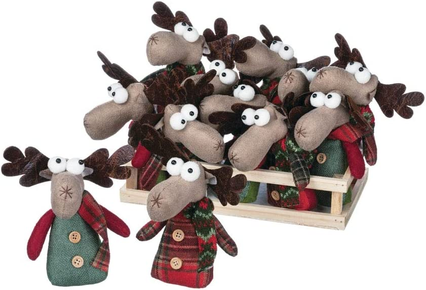 Reindeer Ranch Moose In Crate Set of 12 PN2445 Small Sullivans Plush Fun Figurines 5.5L x 4W x 5.5H Brown