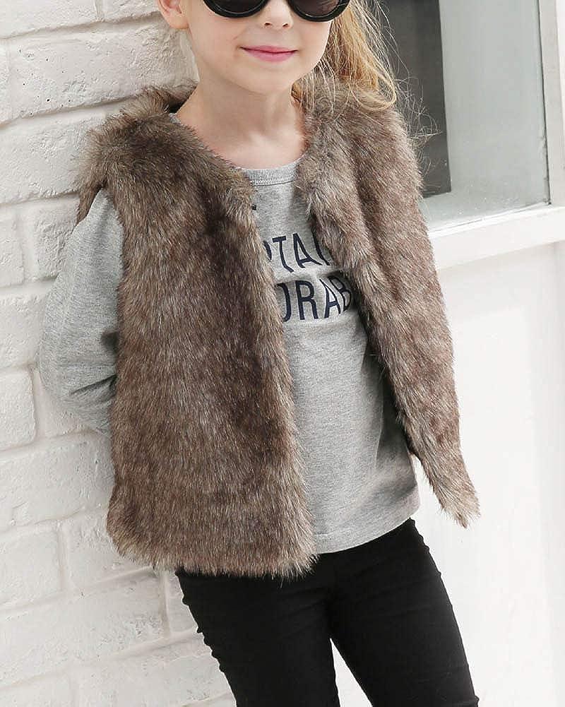 ZhuiKunA Girls Soft Faux Fur Gilet Jacket Vest Sleeveless Outwear Age 3-8T