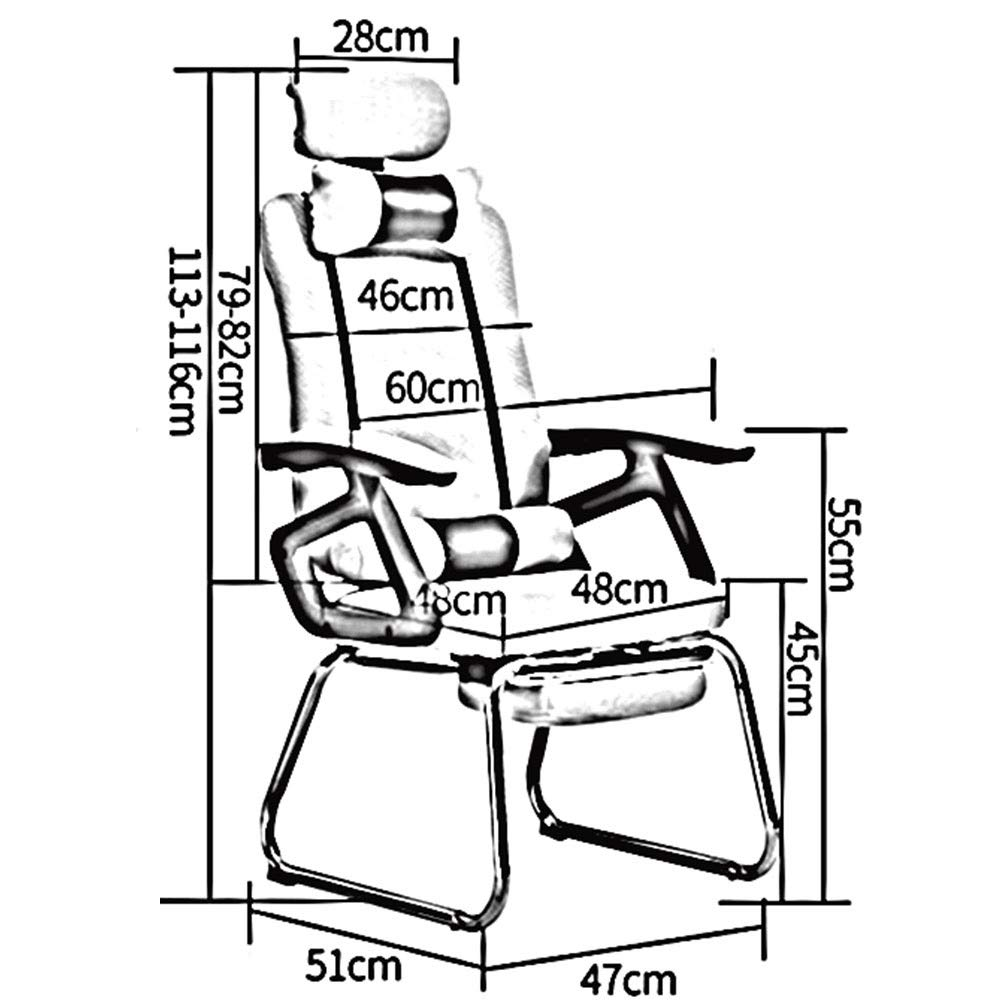 DALL kontorsstol 165 ° lutningsfunktion ergonomisk högrygg datorspelstol teleskopiskt fotstöd justerbar nackstödsmontering (färg: svart) gRÖN