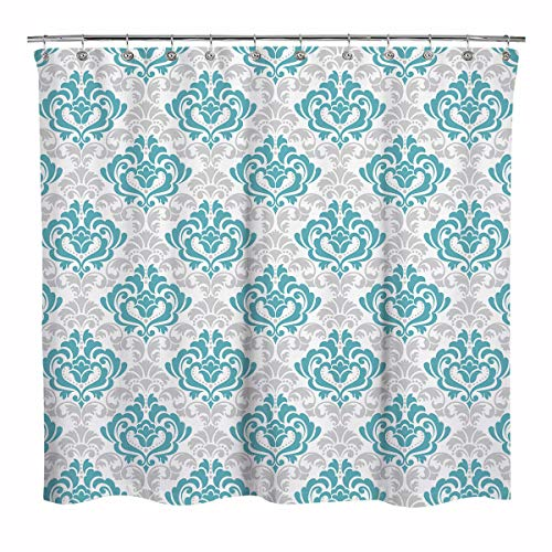 (Sunlit Design Luxury Classical Damask Patterns Fabric Shower Curtain, Old Fashioned Bathroom Decoration Curtains, Blue,Gray and)