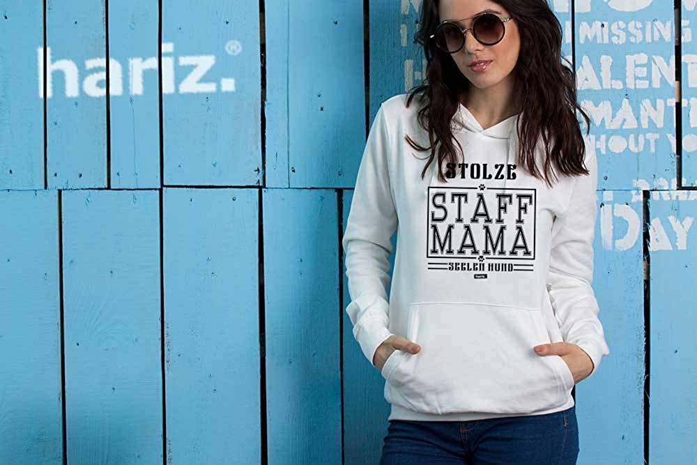 HARIZ Damen Hoodie Stolze Staff Mama Hund Herrchen Plus Geschenkkarten Himmel Blau