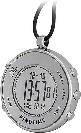 Findtime Reloj de bolsillo unisex, digital, cuarzo, altímetro, barómetro, deportes al aire libre, escalada