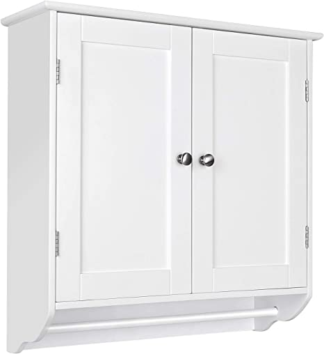 Amazon Com Homfa Bathroom Wall Cabinet Over The Toilet Space Saver Storage Cabinet Kitchen Medicine Cabinet Doule Door Cupboard With Adjustable Shelf And Towels Bar White Kitchen Dining