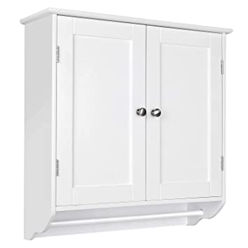 Homfa Bathroom Wall Cabinet, Over The Toilet Space Saver Storage Cabinet  Kitchen Medicine Cabinet Doule Door Cupboard with Adjustable Shelf and  Towels ...