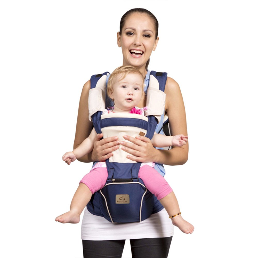 c2e0f83f882 Bebamour Hipseat Baby Carrier Backpack 5 in 1 Carry Ways Carrier Sling  (Dark Blue)  Amazon.co.uk  Baby