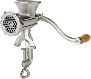 Home-X Cast Iron Manual Meat Mincer, Perfectly Grind Meat Every time, Silver and Wood