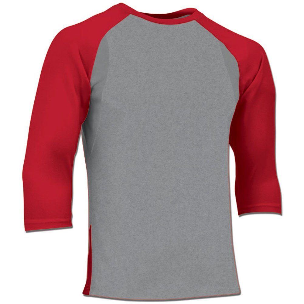 Champro Youth Extra Innings 3 / 4スリーブベースボールシャツ B01LDW1NUE Large|Grey|Scarlet Grey|Scarlet Large
