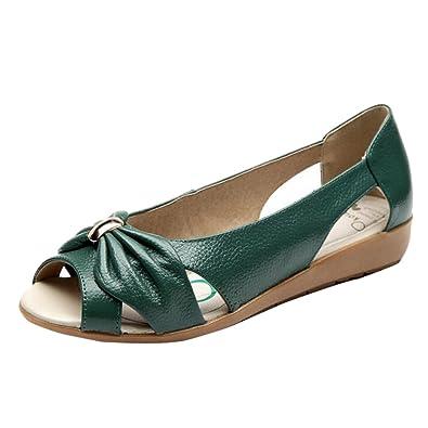 Binying Damen Peep-Toe Hohl Flache ohne Verschluss Sandalen
