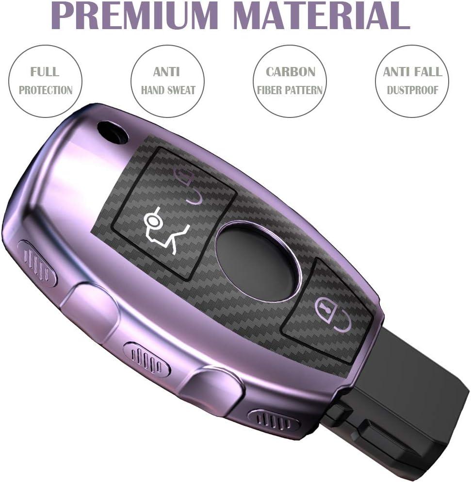 Lcyam Tpu Key Fob Case Cover Carbon Fiber Pattern Fits for 3 4 Button Mercedes Benz C E M S CLS CLK GLK GLC G Class CLA GLK350 GLA 250 C300 AMG 2019 GLC 300 Red