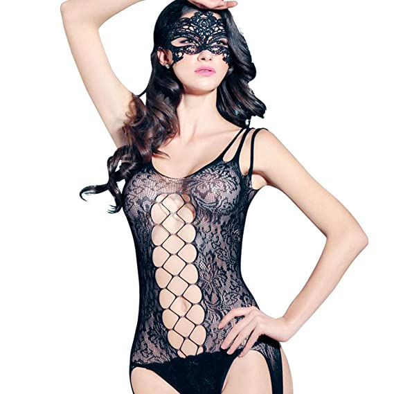 2a4c89882 On9in Women Sexy Bodysuits Suspender Lingerie Bodystocking Fullbody and Lace  Bikini Perspective Three-Point Temptation Suit for Womens Black  Amazon.in   ...