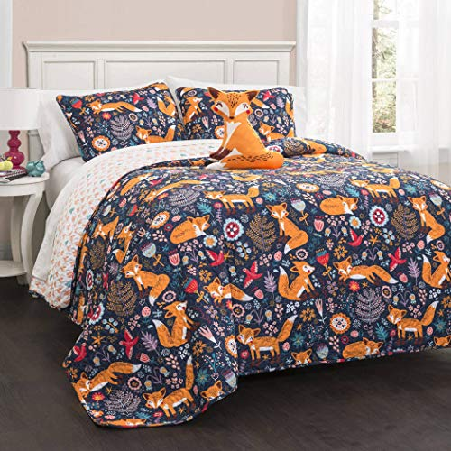 4 Piece Multi Color Pixie Fox Floral Quilt Full Queen Set, Navy Orange Red Animal Bird Print Flower Leaf Medallion Motif Boho Chic Vintage, Reversible Heart Shapes Kids Bedding Teen Bedroom, Polyester