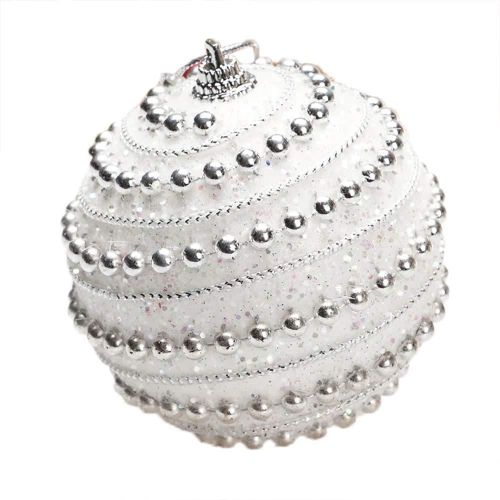 1PC Christmas Rhinestone Glitter Baubles Tree Ball Ornament Balls,Outsta Balls Xmas Tree Ornament Decoration for Holiday Wedding Party Christmas Decoration 3.14''/8cm (White)