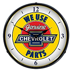 We Use Genuine Chevrolet Parts LED Wall Clock, Retro/Vintage, Lighted, 14 inch