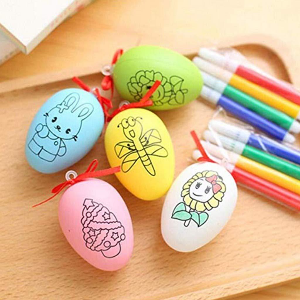 Euone Easter Eggs, Easter Eggs 6pcs Plastic Easter Eggs DIY Easter Eggs Plastic Eggs 8pcs Color Pens