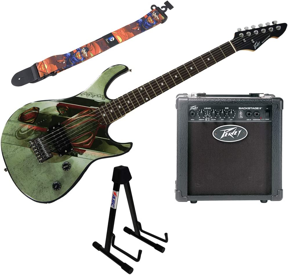 Guitarra eléctrica Peavey Superman Rockmaster, soporte ...