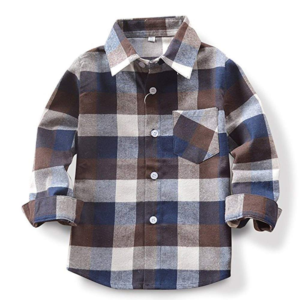 Toddlers Baby Boys Girls Clothes Plaid Flannel Formal Shirt with Button Down Kids Outfit 5-6T Blue by itkidboy